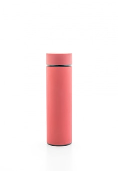 Thermos bottle on white