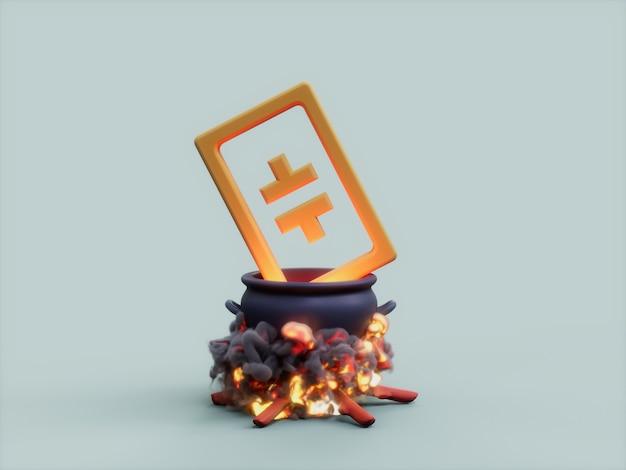 Theta cauldron fire cook crypto 통화 3d 그림 렌더링