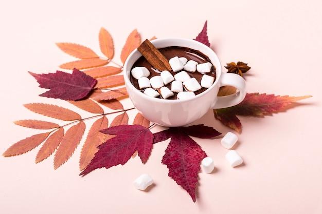 紅葉にマシュマロを添えた濃厚なホットチョコレートカップ。