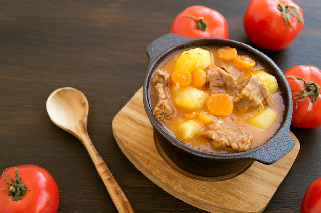 Thick hungarian soup, the goulash. on dark background.