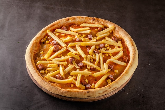 Thin oktoberfest pizza with french fries