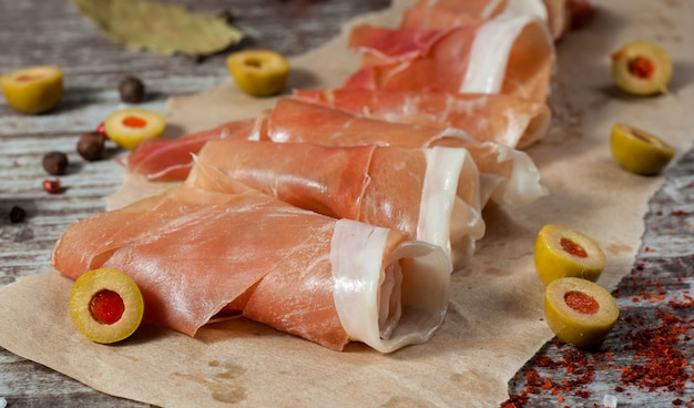 Thin slices of prosciutto