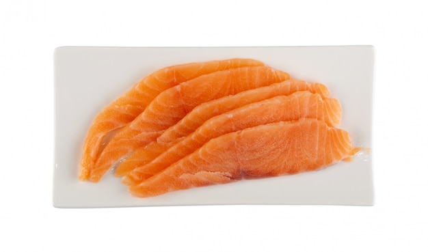 Thin slices of raw salmon fillet