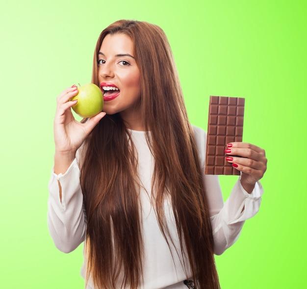 Thin sugar chocolate woman eat