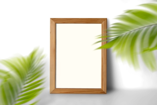 Thin wooden frame with plants