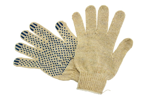 Thin work gloves isolated on white background.