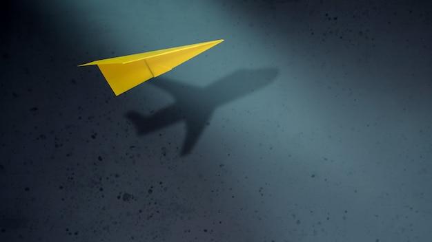 크고 동기 부여 개념을 생각하십시오. 그림자와 함께 비행하는 종이 비행기