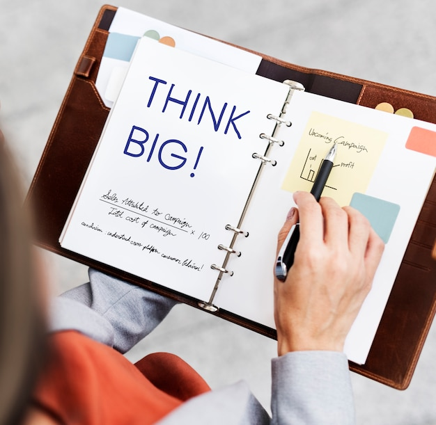 Think big concept on a notebook