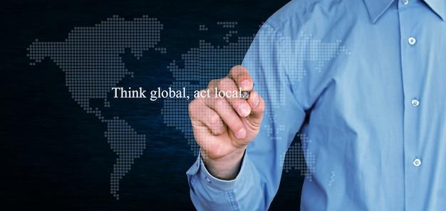 진한 파란색 배경에 글로벌 행위 로컬 텍스트를 생각하십시오.