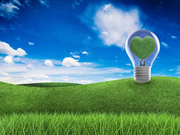 Подумайте о зеленой концепции с трехмерным деревом в форме сердца, зеленым полем, голубым небом и лампочкой идеи
