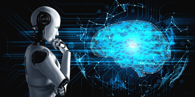 Thinking ai humanoid robot analyzing hologram screen showing concept of ai brain and artificial intelligence