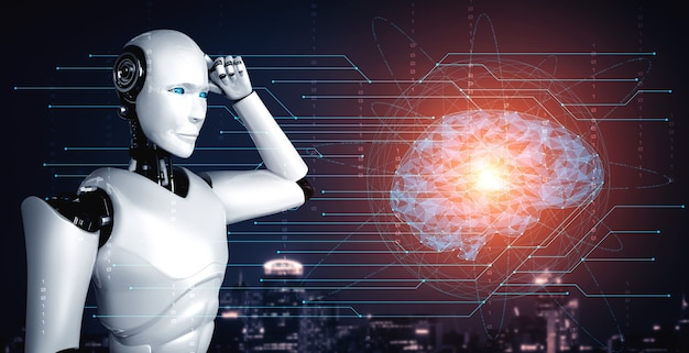 Thinking ai humanoid robot analyzing hologram screen showing concept of ai