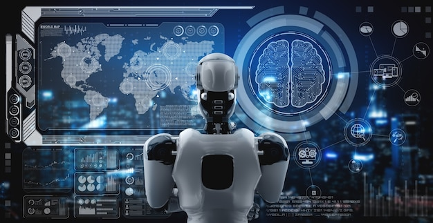 Thinking ai humanoid robot analyzing hologram screen showing concept big data