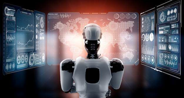 Думающий робот-гуманоид ии анализирует экран голограммы, показывающий концепцию больших данных