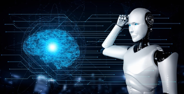 Ai脳の概念を示すホログラム画面を分析する思考aiヒューマノイドロボット