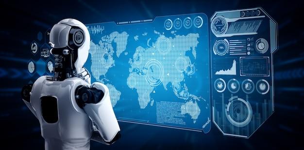 Думающий робот-гуманоид ии, анализирующий экран голограммы, показывает концепцию сети
