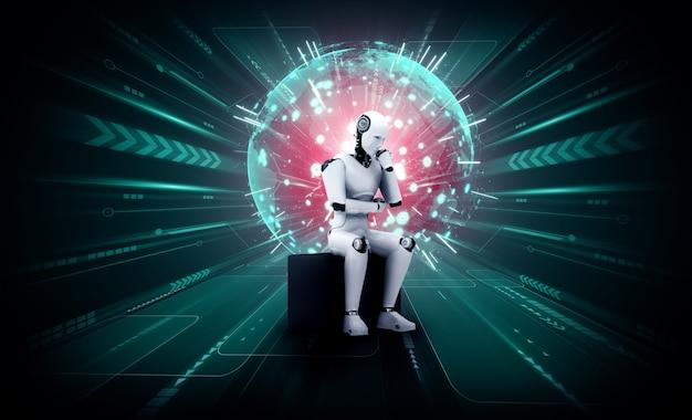 ホログラム画面を分析する思考aiヒューマノイドロボットはネットワークの概念を示しています