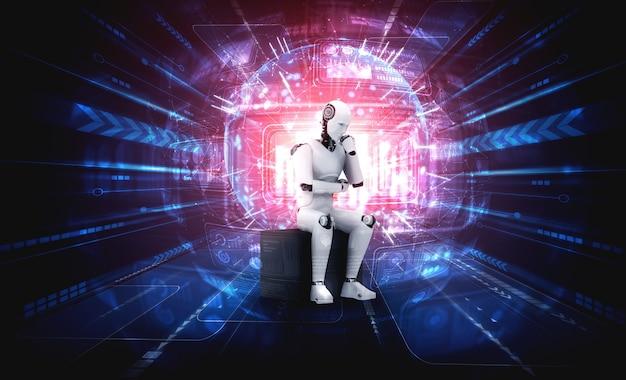 홀로그램 화면을 분석하는 생각 ai 휴머노이드 로봇은 네트워크의 개념을 보여줍니다