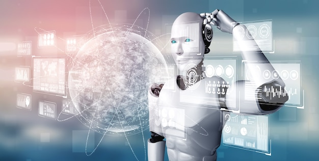Думающий робот-гуманоид ии анализирует экран голограммы