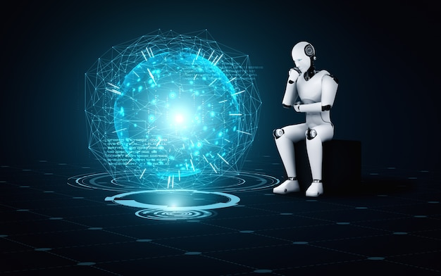 Thinking ai humanoid robot analyzing hologram screen
