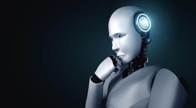정보 데이터를 분석하는 생각 ai 휴머노이드 로봇