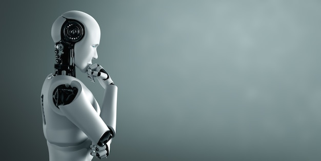 Thinking ai humanoid robot analyzing information data
