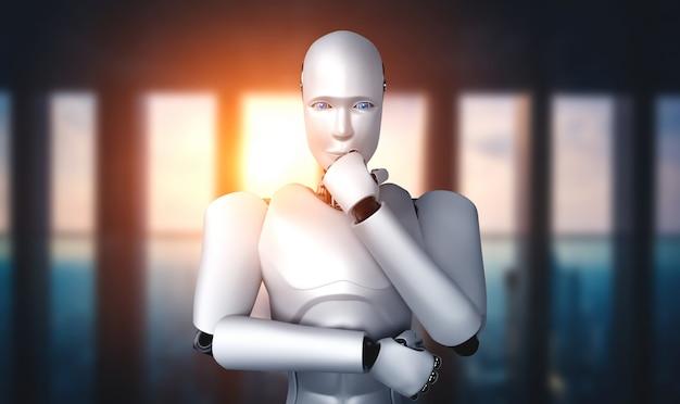 Думающий робот-гуманоид ии анализирует информационные данные