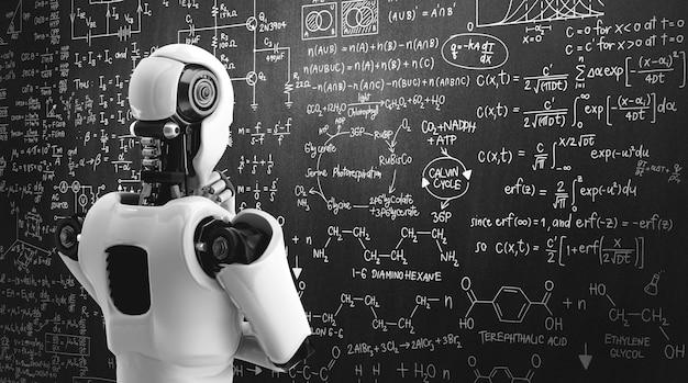 Думающий робот-гуманоид ai анализирует экран математической формулы и научного уравнения