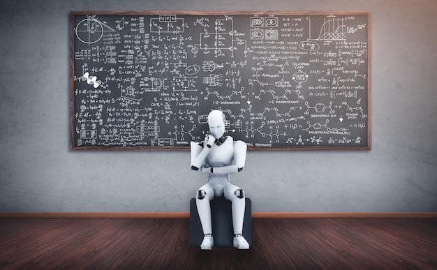数学式と科学の画面を分析する思考aiヒューマノイドロボット