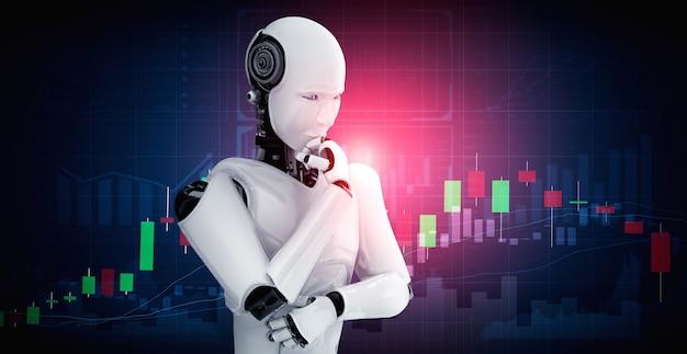 Думающий робот-гуманоид ии анализирует биржевую торговлю на фондовом рынке