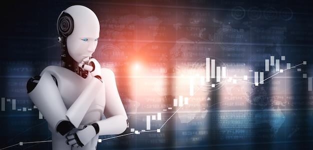 Thinking ai humanoid robot analyzing stock market exchange trading