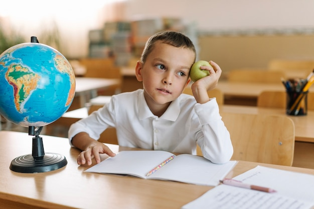 Thinking boy on geography lesson