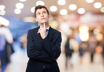 Thinking man with suit