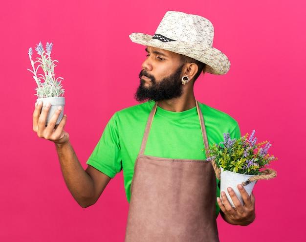 ピンクの壁に隔離された植木鉢の花を保持し、見ているガーデニングの帽子をかぶっている若い庭師のアフリカ系アメリカ人の男を考える