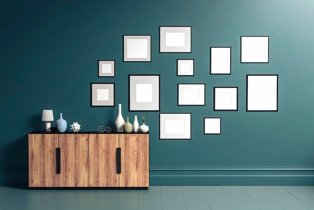Thirteen photo frame for mockup and wood sideboard in living room, 3d rendering