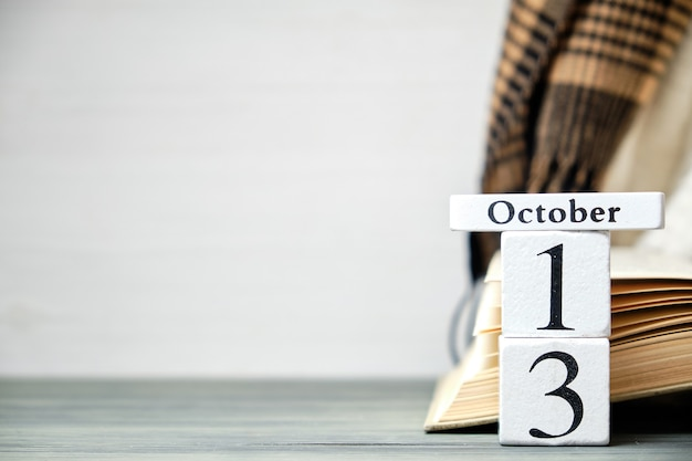 Тринадцатый день осеннего календарного месяца октября с копией пространства.