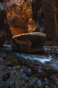 이것은 미국 유타주 가을 시즌 동안 자이언 국립 공원의 내로 우즈 사진입니다.