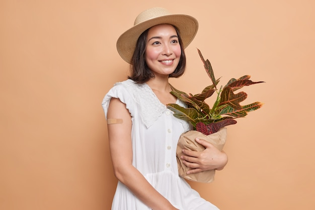 黒髪の思いやりのあるアジアの女性は、ワクチン接種の帽子と白いドレスがベージュの壁に分離された夢のような表情を持っている後、鉢植えの植物を腕に絆創膏を身に着けています