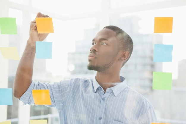 Thoughtful businessman writing on sticky notes on window in the office