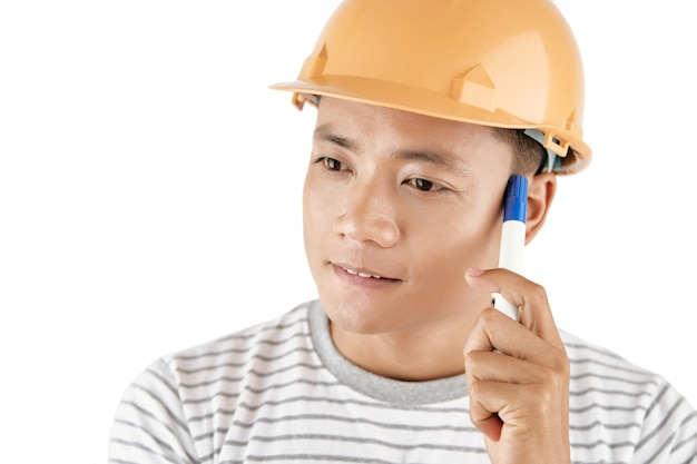 Thoughtful male contractor