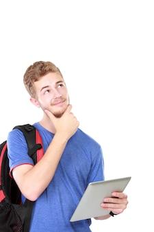 태블릿을 사용 하여 사려 남성 학생 초상화
