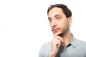 Thoughtful man looking away