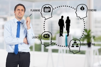Thoughtful man with an infographic with heads