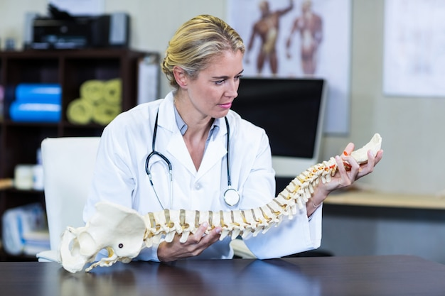 Thoughtful physiotherapist holding a spine model