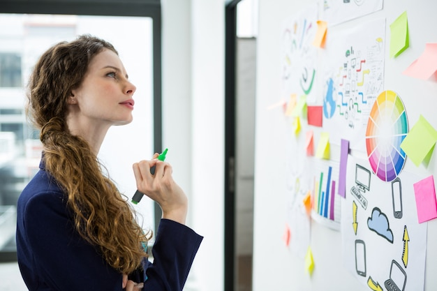 Thoughtful woman looking at adhesive notes
