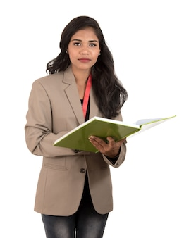Thoughtful woman student, teacher or business lady holding books. isolateds