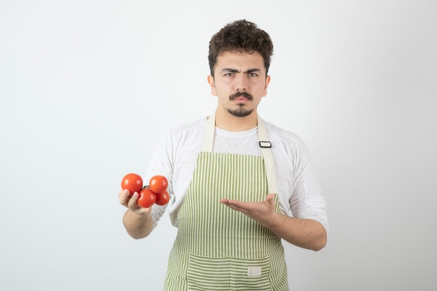 Thoughtful young guy holding tomatoes and pointing hand on it.