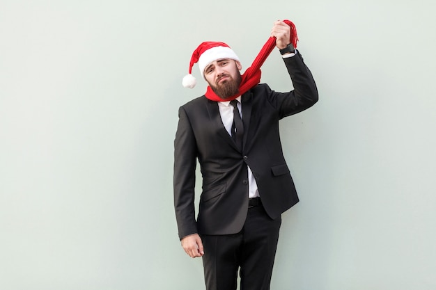 Thoughts of suicide bearded businessman didnt have time to buy anything until christmas