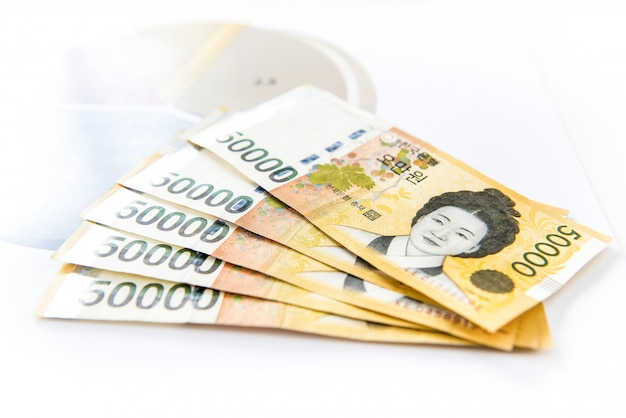 Thousands of south korean won money in form of banknotes