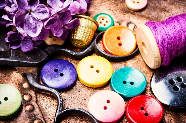 Thread and sewing buttons